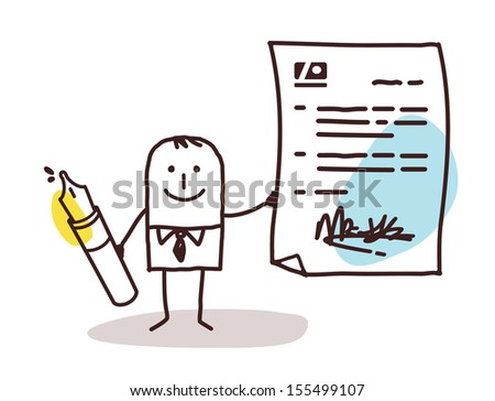 businessman with pen & contract - stock vector