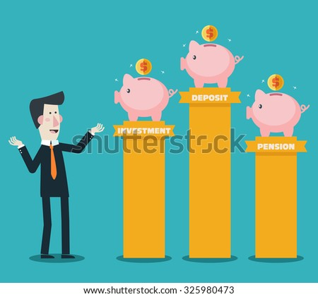Businessman with Piggy bank. Saving and investing money concept. Financial consultation for the bank worker. Modern vector design flat style - stock vector
