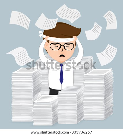 Businessman with pile of paper, business concept, vector 10 - stock vector