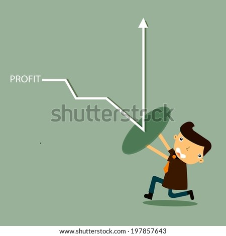 businessman with profit shield  - stock vector