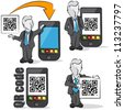 Businessman with QR code for mobile devices. 4 cartoons - stock vector