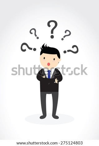 Businessman with question marks above his head. - stock vector