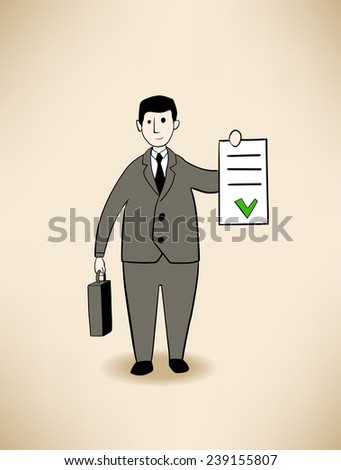 businessman with signed contract - stock vector