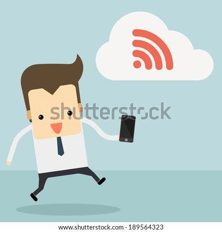 businessman with smartphone and wifi cloud vector - stock vector