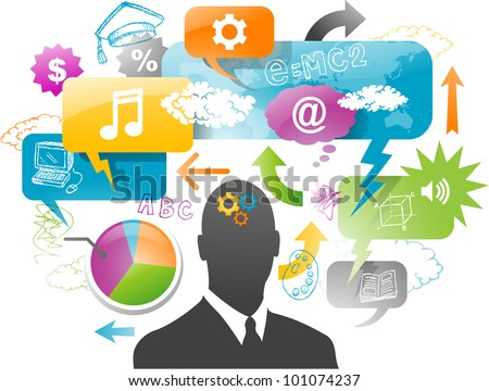 businessman with speech bubble communication concept - stock vector