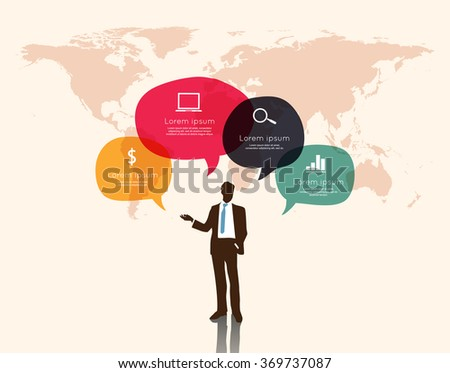Businessman with speech bubble ifographic  - stock vector