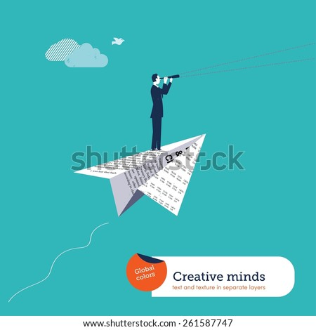 Businessman with spyglass on a paper airplane. Vector illustration Eps10 file. Global colors. Text and Texture in separate layers. - stock vector