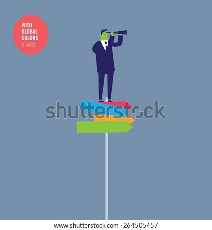 Businessman with spyglass standing on a path direction sign with many directions. Vector illustration Eps10 file. Global colors&layers. - stock vector