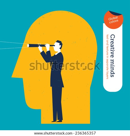 Businessman with spyglasss on the eyes of a big man's head. Vector illustration Eps10 file. Global colors. Text and Texture in separate layers. - stock vector