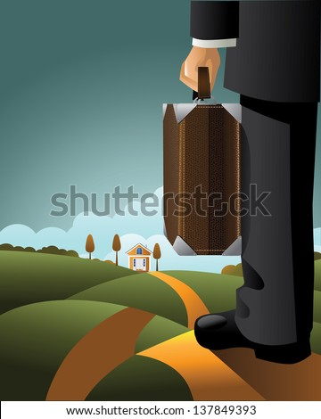 Businessman with suitcase. EPS 10 vector, grouped for easy editing. No open shapes or paths. - stock vector