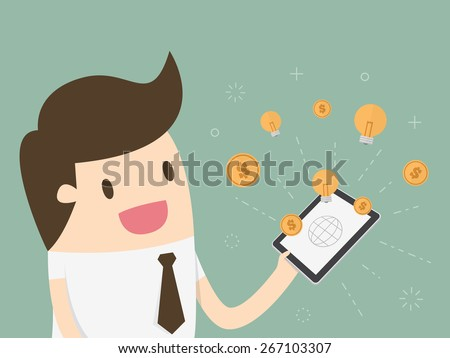 Businessman with tablet computer - money and idea appearing from the screen - stock vector