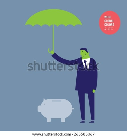 Businessman with umbrella protecting a money pig. Vector illustration Eps10 file. Global colors&layers. - stock vector