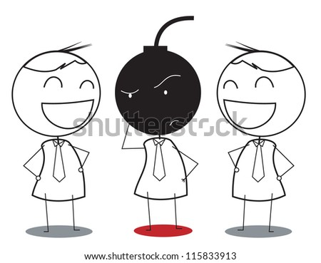 businessman wondering with bomb trap - stock vector