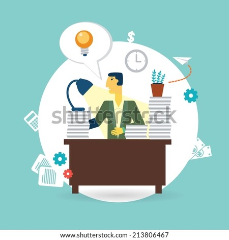 businessman working at his desk illustration - stock vector