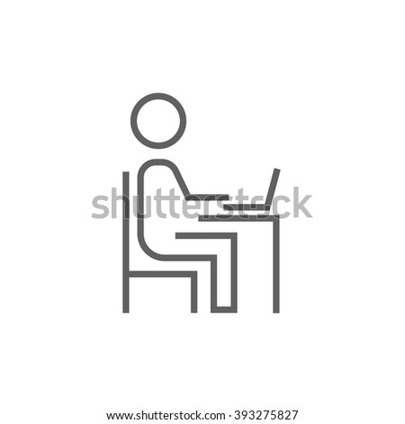 Businessman working at his laptop line icon. - stock vector