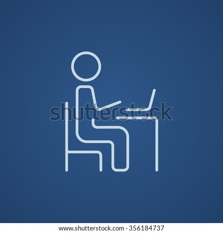 Businessman working at his laptop line icon for web, mobile and infographics. Vector light blue icon isolated on blue background. - stock vector