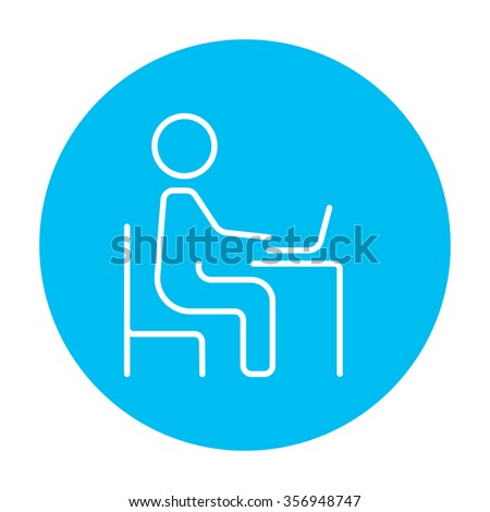 Businessman working at his laptop line icon for web, mobile and infographics. Vector white icon on the light blue circle isolated on white background. - stock vector