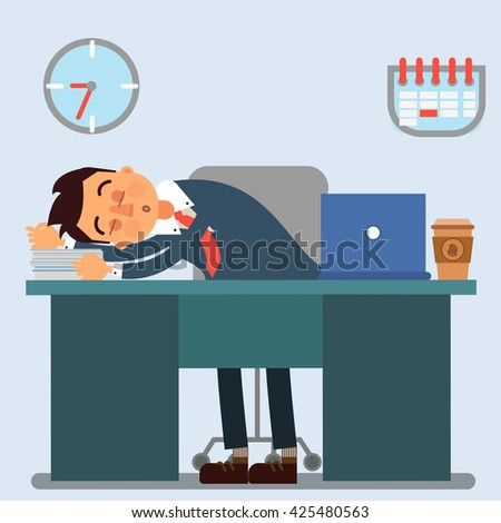 Businessman Working Day. Sleeping Businessman at Work. Tired Businessman. Businessman with Laptop. Lazy Businessman. Overworked Businessman. Business Man. Office Life. Vector illustration - stock vector