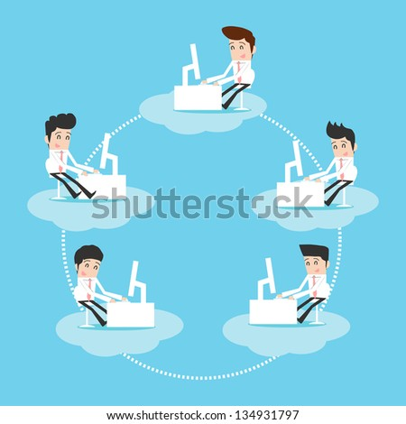 Businessman working on cloud - stock vector
