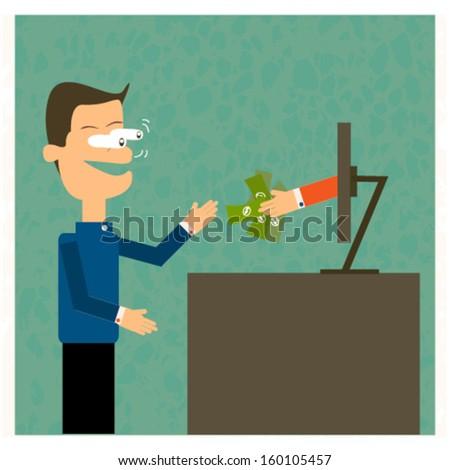 businessman working on internet, vector cartoon. - stock vector