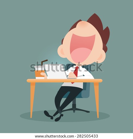 Businessman working on laptop and drinking coffee - stock vector