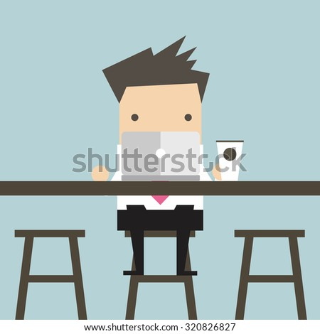 Businessman working on laptop at coffee bar - stock vector
