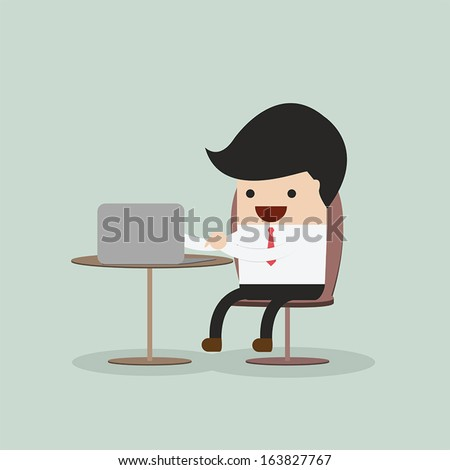 Businessman working on laptop, VECTOR, EPS10 - stock vector