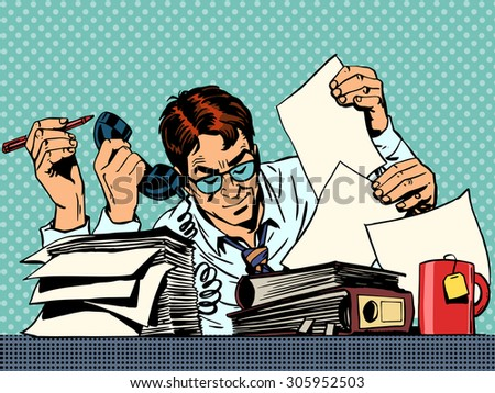 Businessman working on papers. A man sits at a Desk and looking at the reports - stock vector