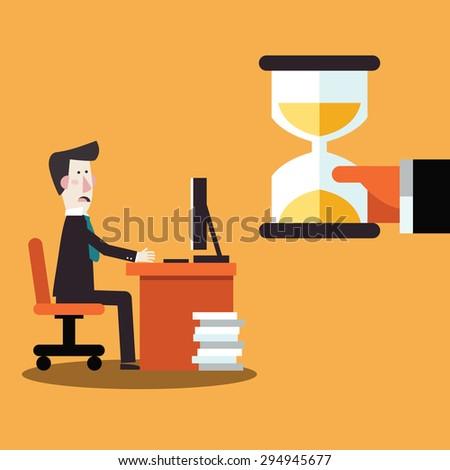 Businessman working under pressure. Workplace stress - stock vector
