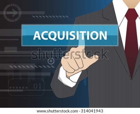 Businessman working with modern virtual technology, hand touching ACQUISITION - stock vector