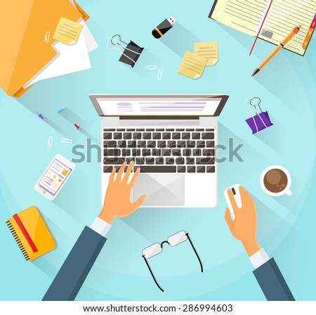 Businessman Workplace Desk Hands Working Laptop Flat Vector Illustration Business Man Top Angle Above View Office - stock vector
