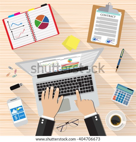 Businessman Workplace Desk Hands Working Laptop, sticky notes, contract papers, smartphone, calculator, pen, coffee cup. vector illustration in flat design with long shadows  - stock vector