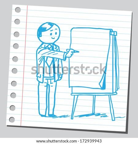 Businessman write on flip chart - stock vector