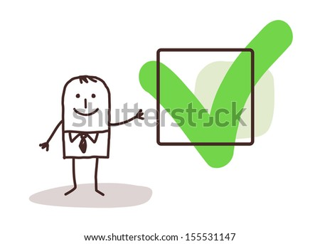 businessman & YES sign - stock vector