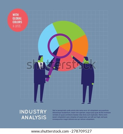 Businessmen analyzing a chart with a loupe. Vector illustration Eps10 file. Global colors and layers.    - stock vector