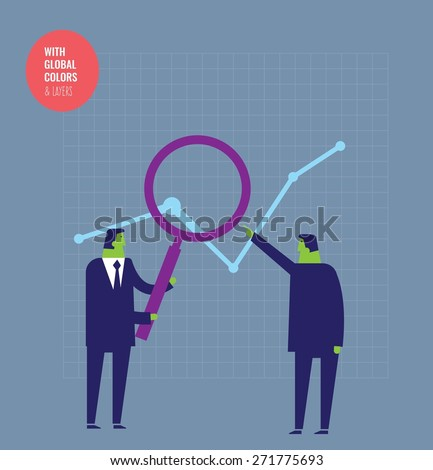 Businessmen analyzing a chart with a magnifying glass. Vector illustration Eps10 file. Global colors&layers. - stock vector