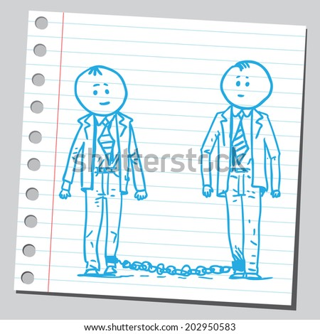 Businessmen chained to each other - stock vector