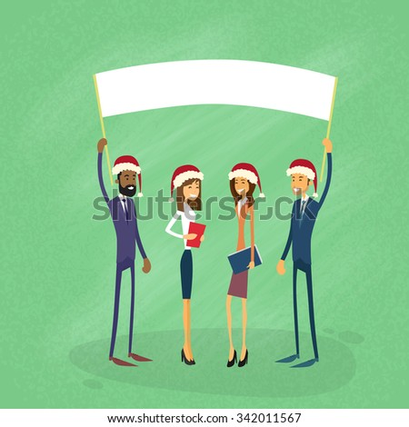 Businessmen Christmas Santa Hat Show White Board, Signboard, Empty Copy Space, Business People New Year Holiday Hold Placard Sign Flat Vector Illustration - stock vector