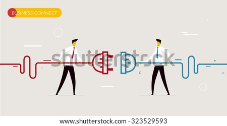 Businessmen connect connectors. Cooperation interaction. Vector illustration Eps 10 file. Success, Cooperation - stock vector