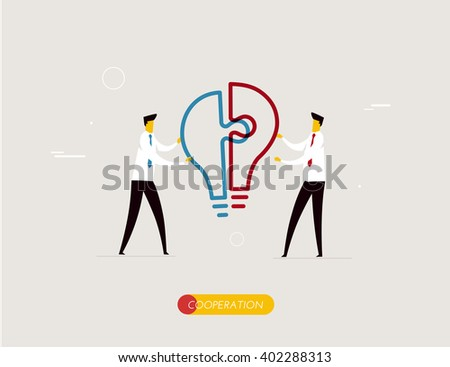 Businessmen connect lamp puzzle. - stock vector