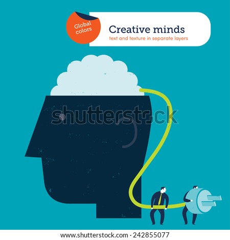 Businessmen connecting a brain to the electricity. Vector illustration Eps10 file. Global colors. Text and Texture in separate layers. - stock vector