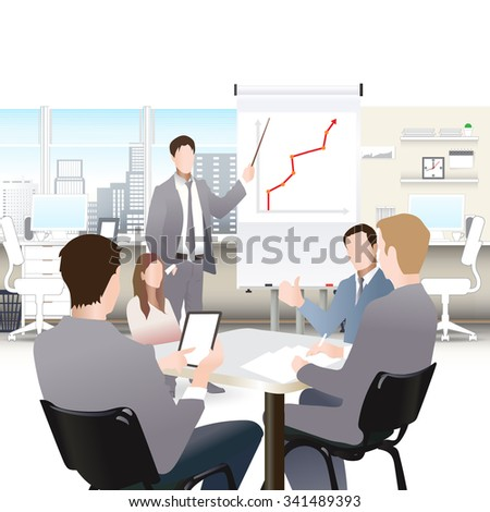 Businessmen discuss sales growth in the office chart Businessman shows on board plot group employees at work, flet, vector office workers to discuss at the meeting, isolated, office interior - stock vector