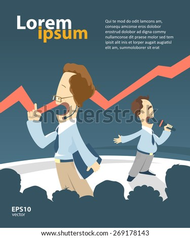 Businessmen giving a presentation. Creative vector illustration. Booklet cover template design. Teamwork concept. - stock vector
