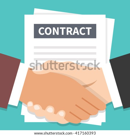 Businessmen handshake and contract flat illustration. Agreement, successful negotiation, partnership. Modern flat design for web banners, web site, printed materials, infographics. Vector illustration - stock vector