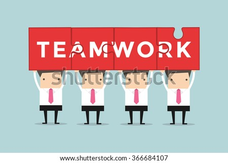 Businessmen hold and showing puzzle teamwork - stock vector