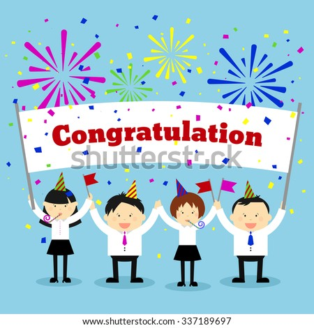 Businessmen holding congratulation sign. Business and banner, message greeting. Vector concept background - stock vector