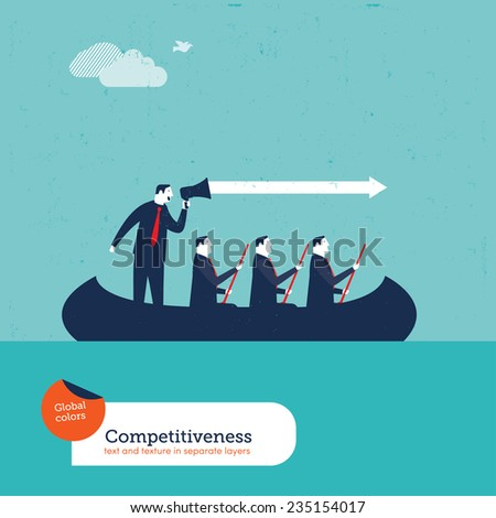 Businessmen in a boat with megaphone. Vector illustration Eps10 file. Global colors. Text and Texture in separate layers.  - stock vector