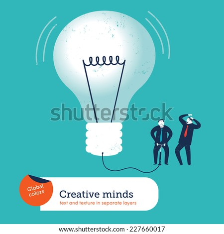 Businessmen inflating a light bulb. Vector illustration Eps10 file. Global colors. Text and Texture in separate layers. - stock vector