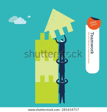 Businessmen making a building puzzle which is an arrow. Vector illustration Eps10 file. Global colors. Text and Texture in separate layers. - stock vector