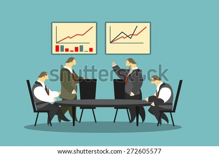 businessmen of the Round Table staff problem solving stylized characters - stock vector